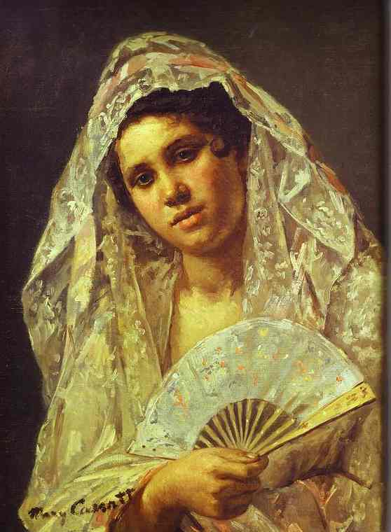 famous painting Spanish Dancer Wearing a Lace Mantilla of Mary Stevenson Cassatt