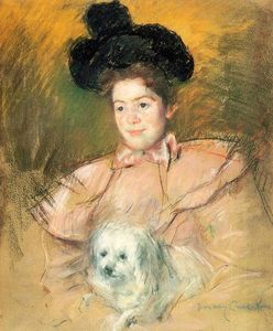 Mary Stevenson Cassatt - Woman in Raspberry Costume Holding a Dog