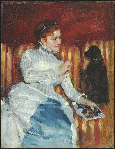 famous painting Woman on a Striped Sofa with a Dog of Mary Stevenson Cassatt