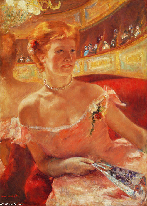 famous painting Woman with a Pearl Necklace in a Loge of Mary Stevenson Cassatt
