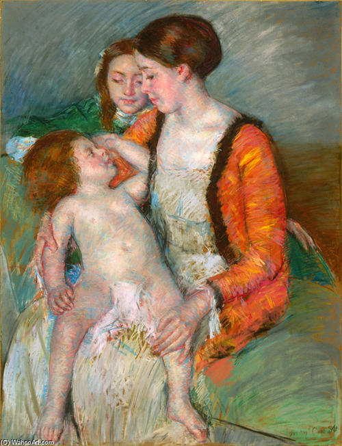 famous painting Young mother doughter and baby of Mary Stevenson Cassatt