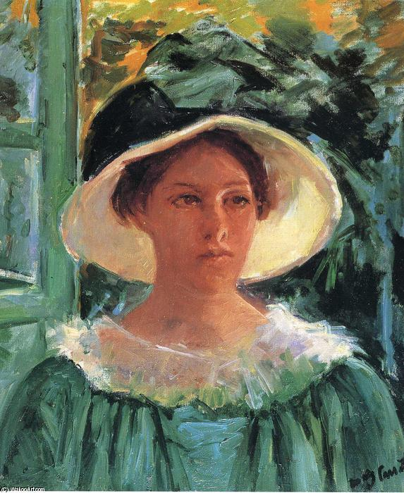 famous painting Young Woman in Green Outdoors in the Sun of Mary Stevenson Cassatt