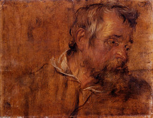Anthony Van Dyck - Profile Study Of A Bearded Old Man