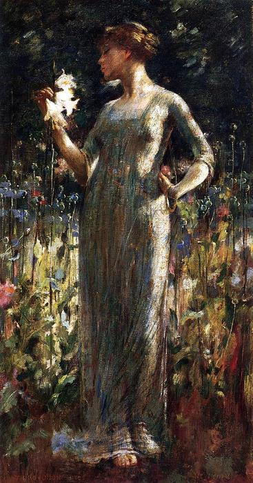 famous painting A King's Daughter (aka Girl with Lilies) of Theodore Robinson