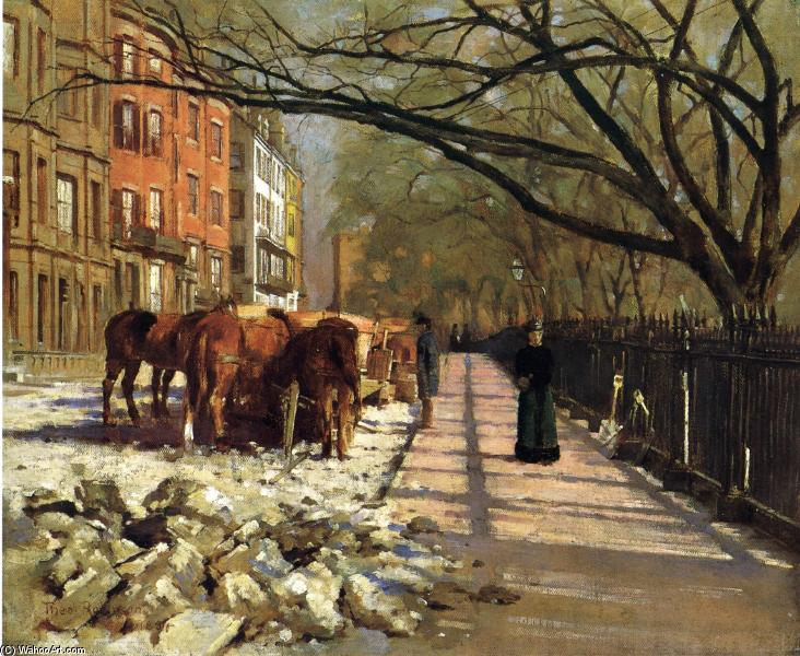 famous painting Beacon Street, Boston of Theodore Robinson