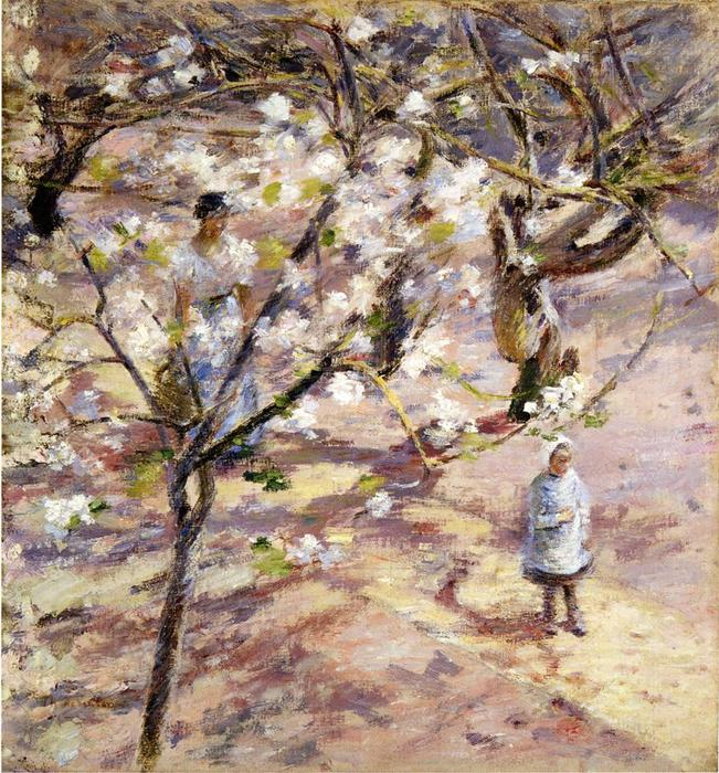 famous painting Blossoms at Giverny of Theodore Robinson
