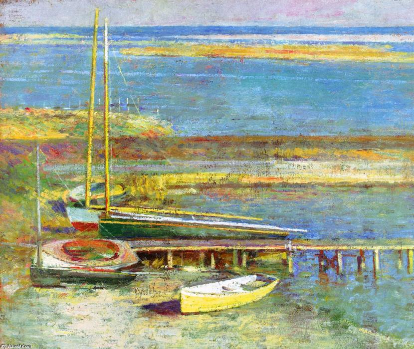famous painting Boats at a Landing 1 of Theodore Robinson