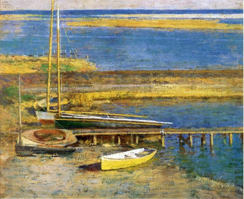 famous painting Boats at a Landing of Theodore Robinson