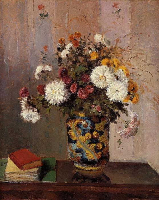famous painting Bouquet of Flowers. Chrysanthemums in a China Vase of Theodore Robinson