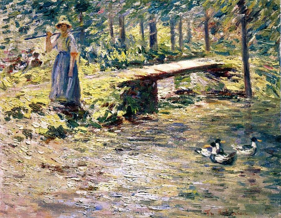famous painting By the Brook of Theodore Robinson