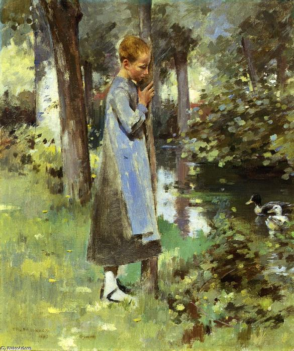 famous painting By the River of Theodore Robinson
