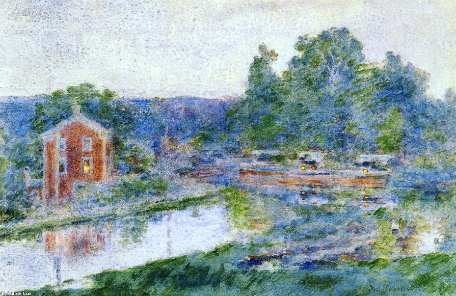 famous painting Evening on the Canal of Theodore Robinson