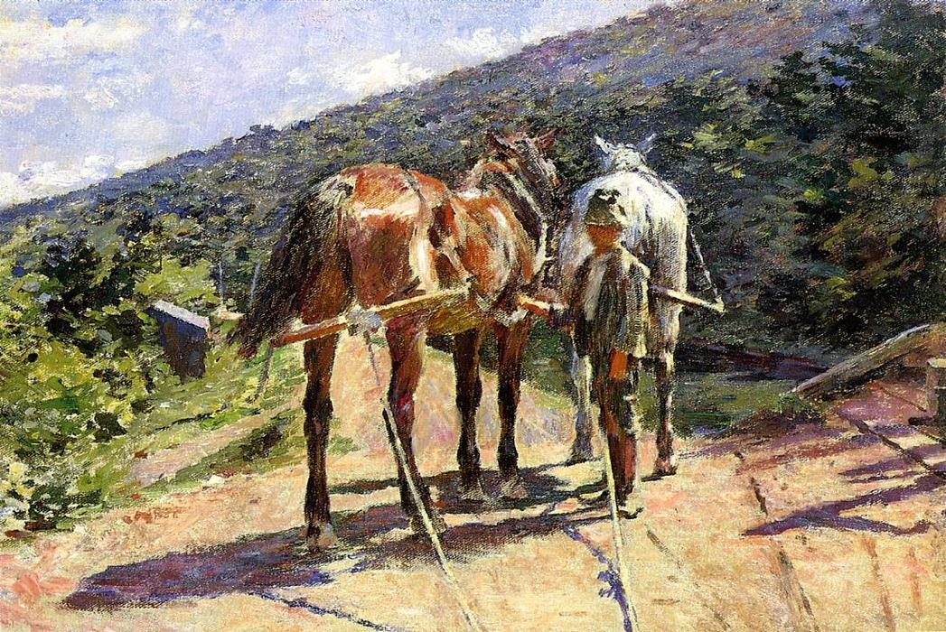 famous painting On the Tow-Path - A Halt of Theodore Robinson