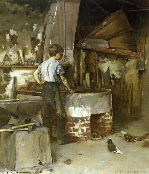 famous painting The Forge (aka An Apprentice Blacksmith) of Theodore Robinson