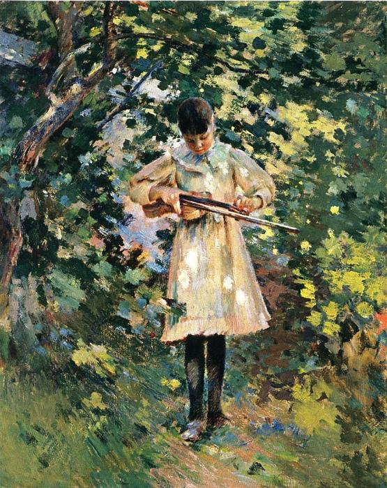 famous painting The Young Violinist (aka Margaret Perry) of Theodore Robinson