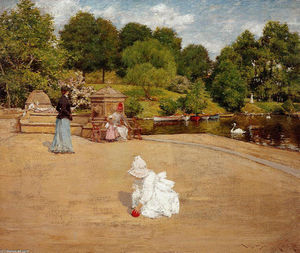 William Merritt Chase - A Bit of the Terrace (aka Early Morning Stroll)
