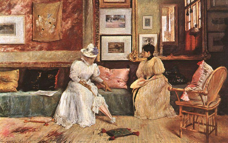 famous painting A Friendly Visit of William Merritt Chase