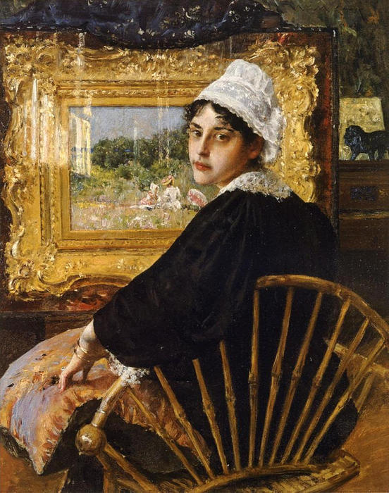 famous painting A Study (aka The Artist's Wife) of William Merritt Chase