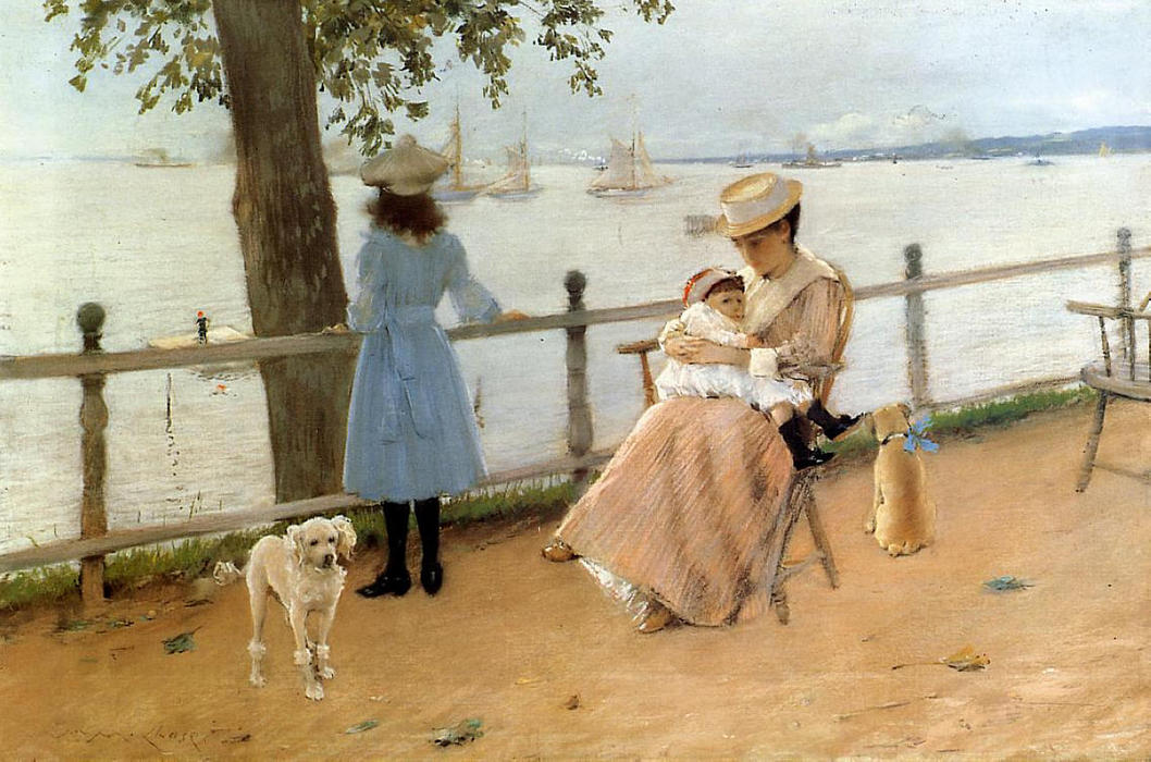 famous painting Afternoon by the Sea (aka Gravesend Bay) of William Merritt Chase