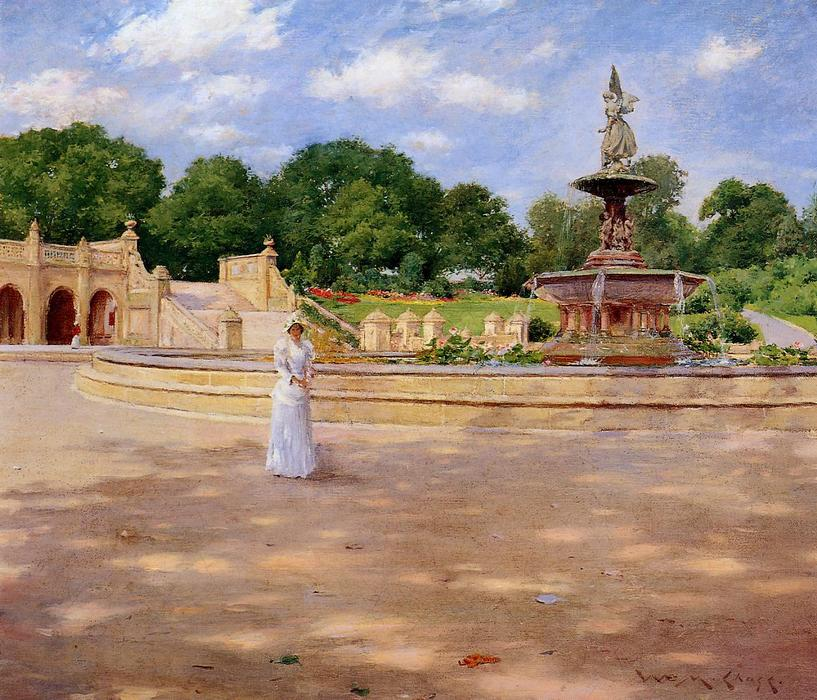 famous painting An Early Stroll in the Park of William Merritt Chase