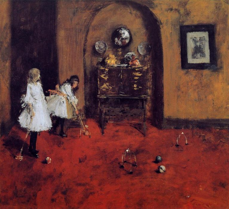 famous painting Children Playing Parlor Croquet (sketch) of William Merritt Chase