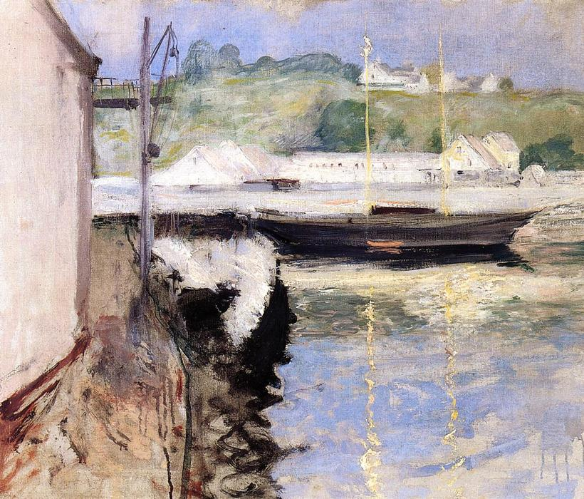 famous painting Fish Sheds and Schooner, Gloucester of William Merritt Chase