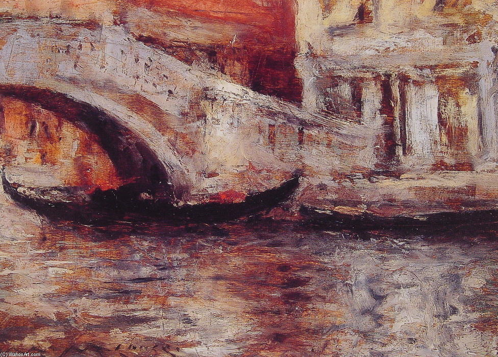 famous painting Gondolas Along Venetian Canal of William Merritt Chase