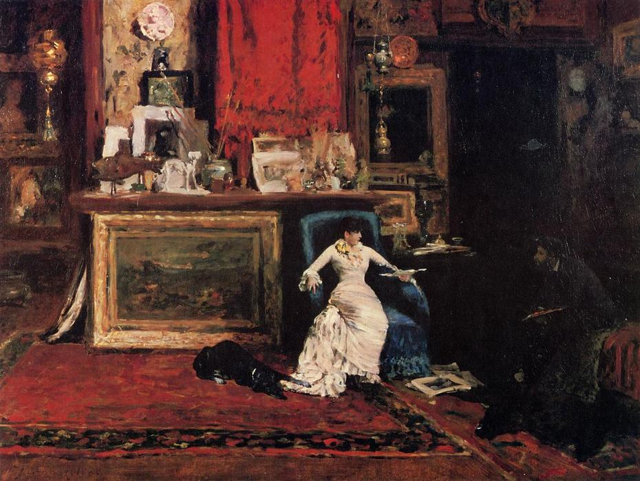 famous painting Interior of the Artist's Studio aka The Tenth Street of William Merritt Chase