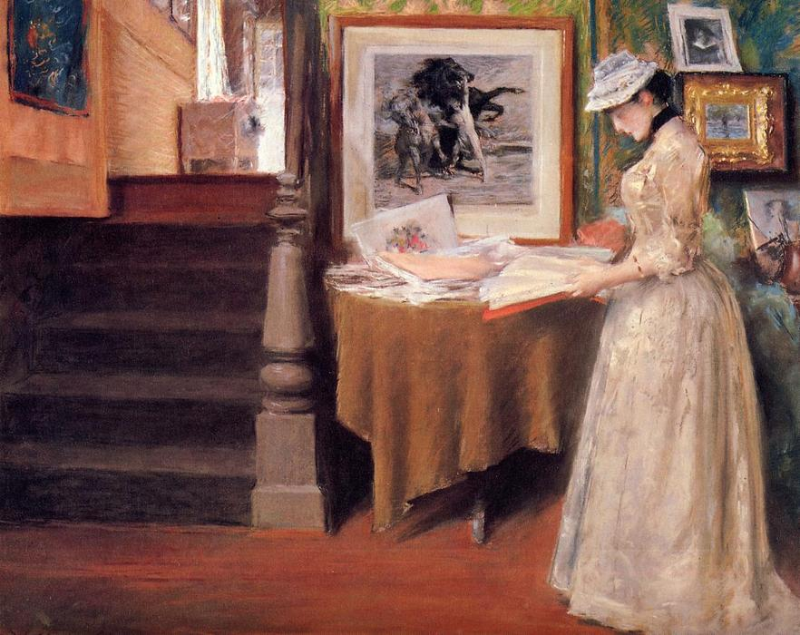 famous painting Interior, Young Woman at a Table of William Merritt Chase