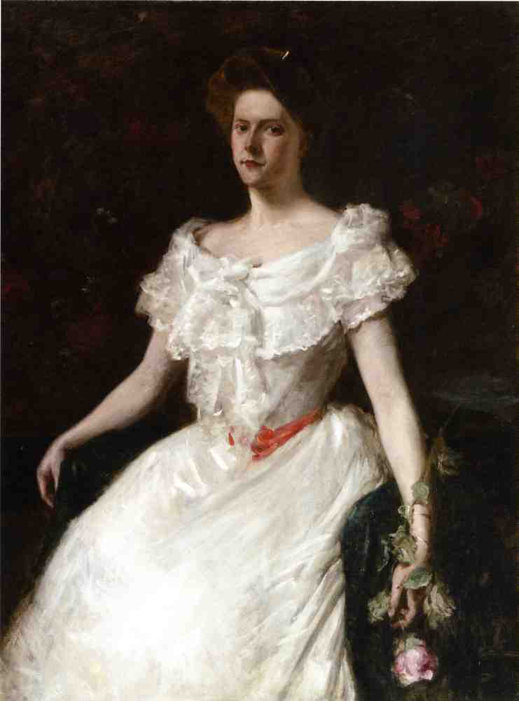 famous painting Lady with a Rose of William Merritt Chase