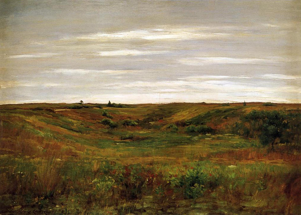 famous painting Landscape - A Shinnecock Vale of William Merritt Chase