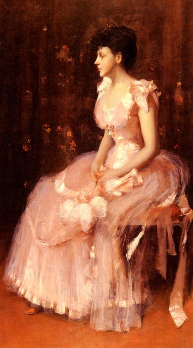 famous painting Portrait of a Lady in Pink of William Merritt Chase