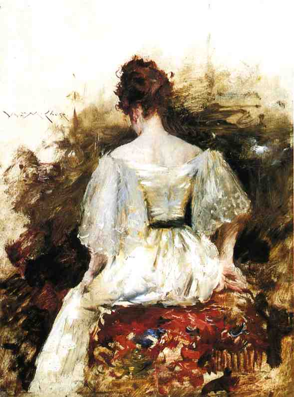 famous painting Portrait of a Woman - The White Dress of William Merritt Chase