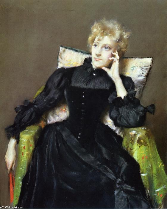 famous painting Seated Woman in Black Dress of William Merritt Chase