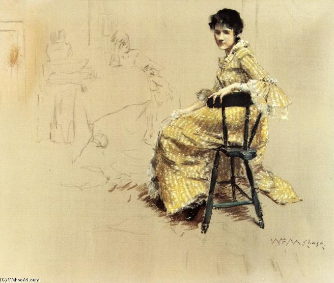 famous painting Seated Woman in Yello Striped Gown of William Merritt Chase
