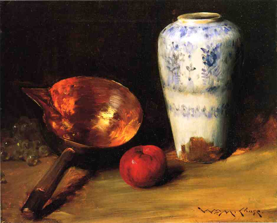 famous painting Still Liife with China Vase, Copper Pot, an Apple and a Bunch of Grapes of William Merritt Chase