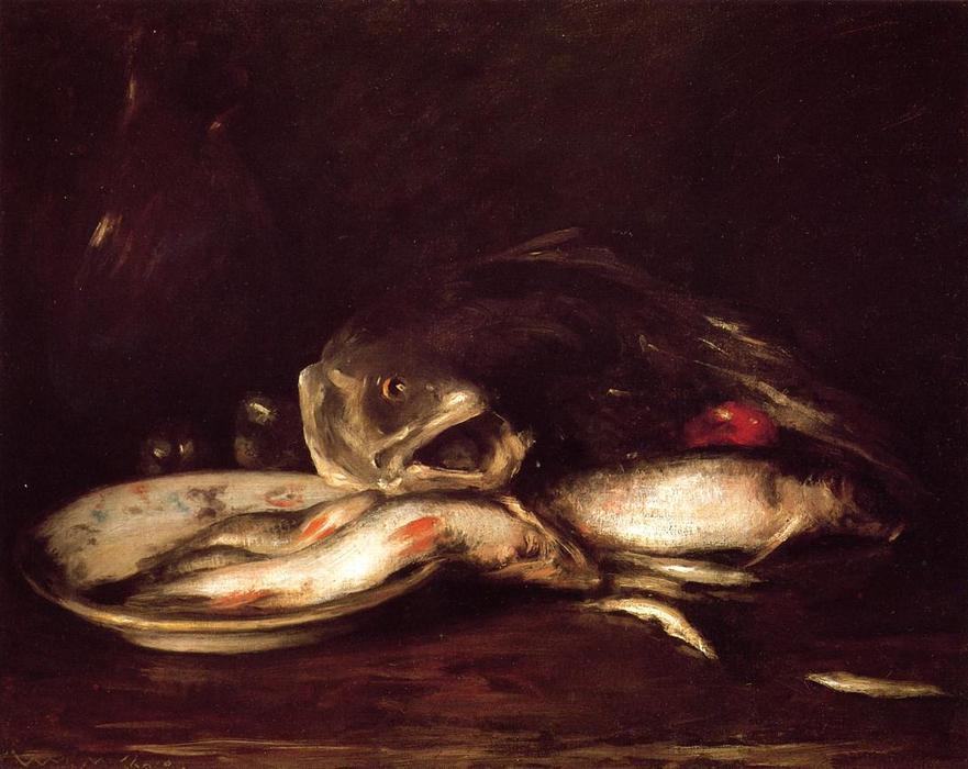 famous painting Still Llife with Fish and Plate of William Merritt Chase