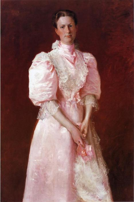 famous painting Study in Pink aka Portrait of Mrs. Robert P. McDougal of William Merritt Chase