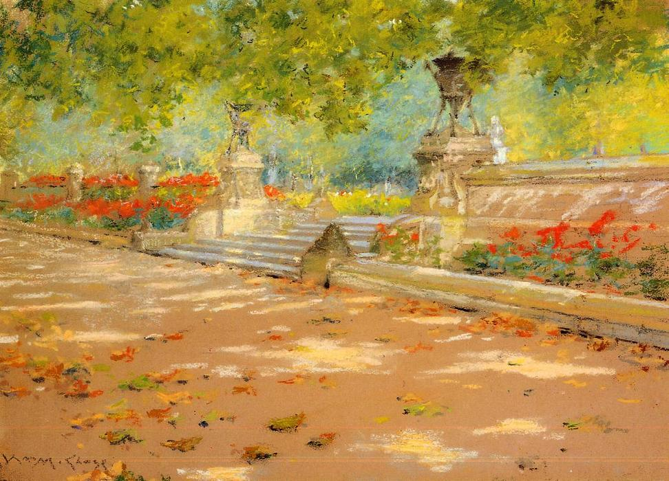 famous painting Terrace, Prospect Park of William Merritt Chase