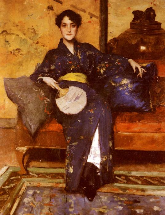 famous painting The Blue Kimono of William Merritt Chase