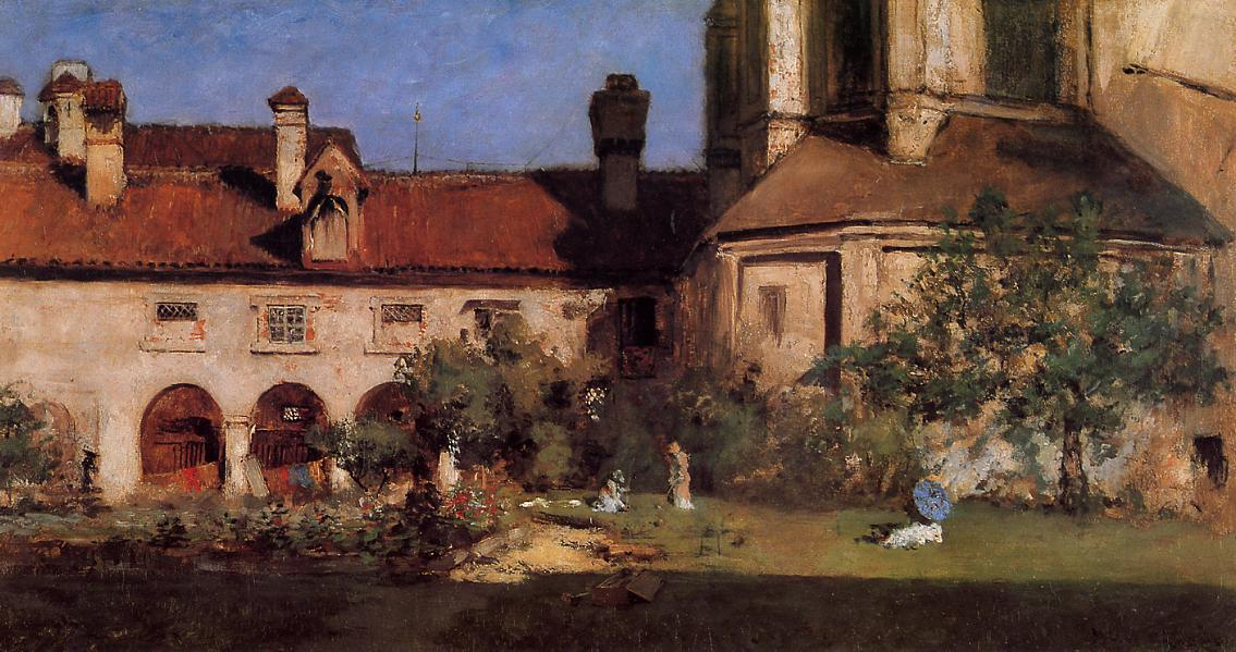 famous painting The Cloisters of William Merritt Chase