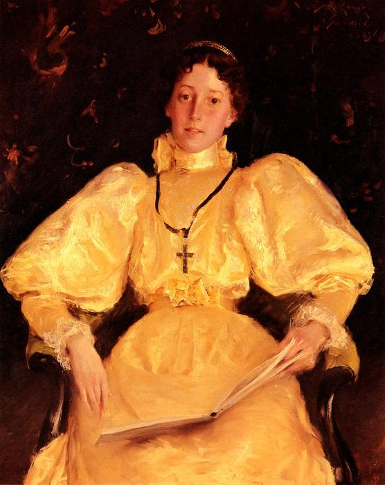 famous painting The Golden Lady of William Merritt Chase