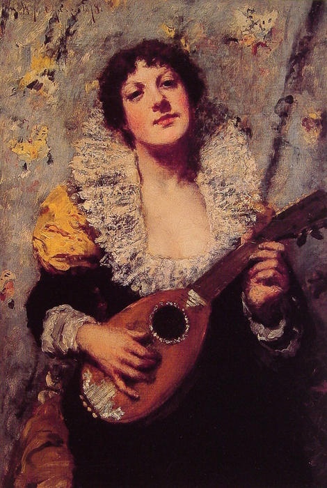 famous painting The Mandolin Player of William Merritt Chase