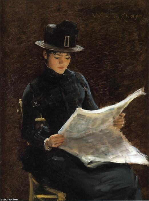 famous painting The Morning News of William Merritt Chase
