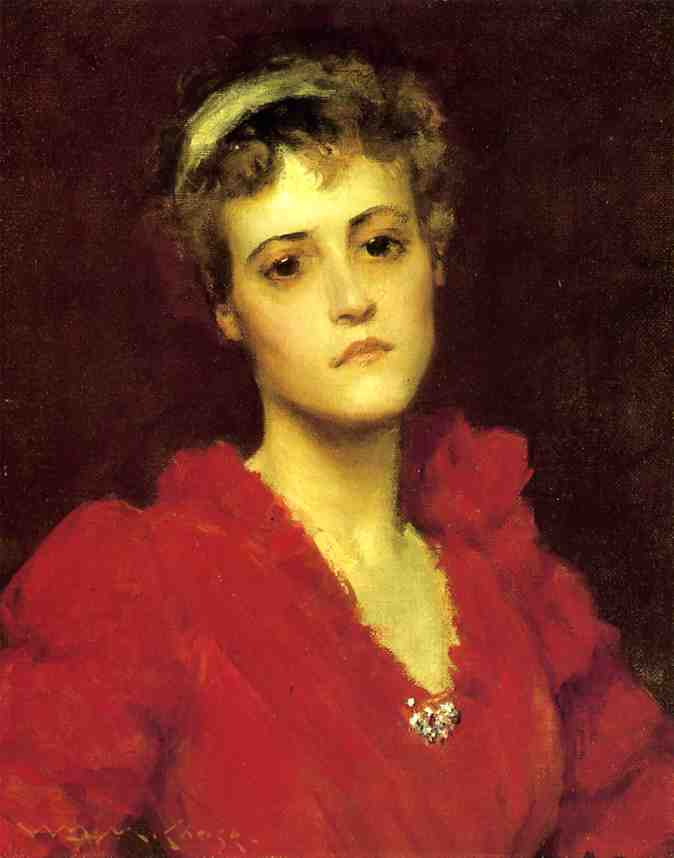 famous painting The Red Gown of William Merritt Chase
