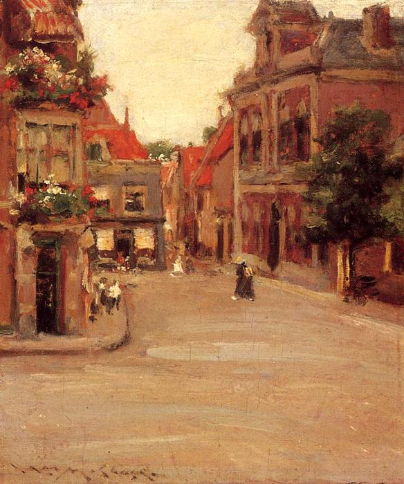 famous painting The Red Roofs of Haarlem of William Merritt Chase