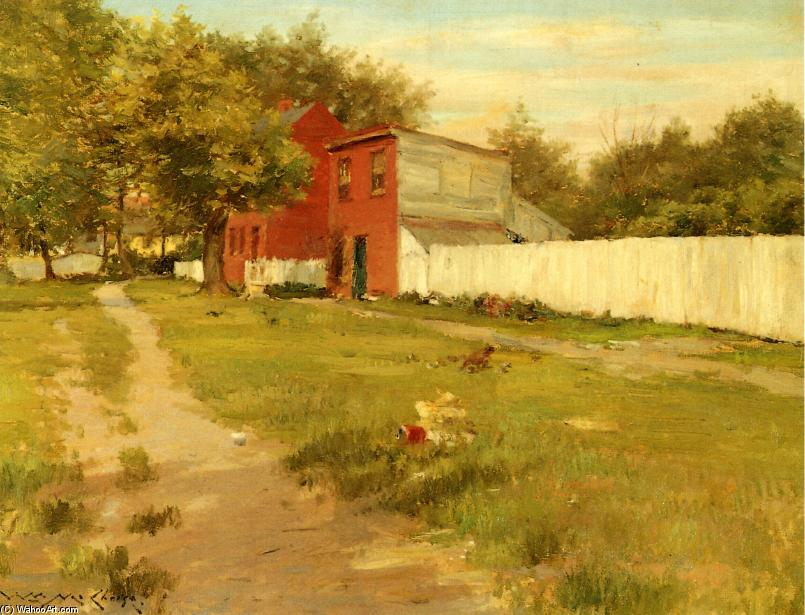 famous painting The White Fence of William Merritt Chase