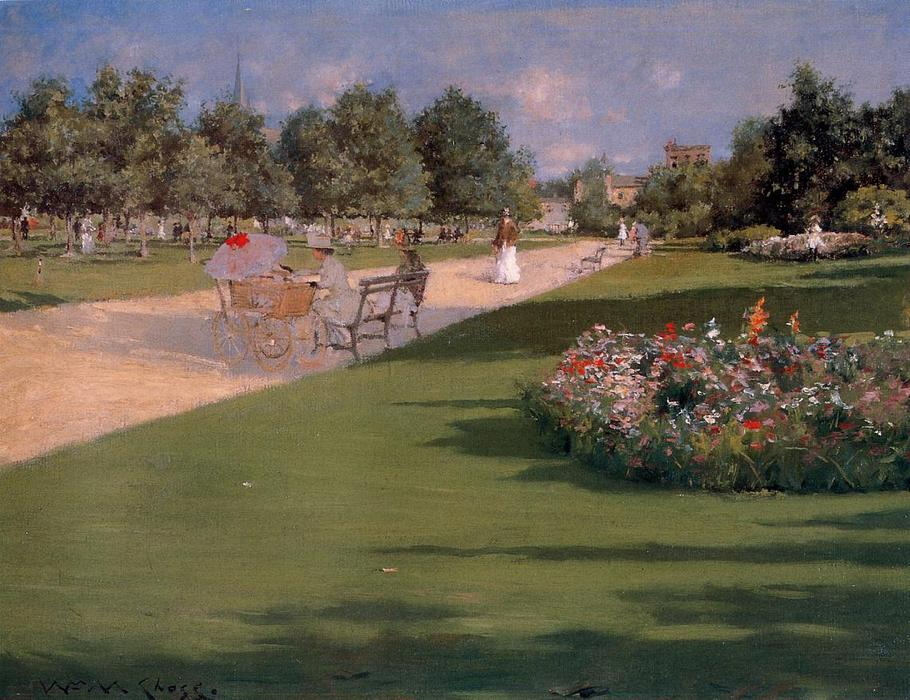 famous painting Tompkins Park, Brooklyn of William Merritt Chase
