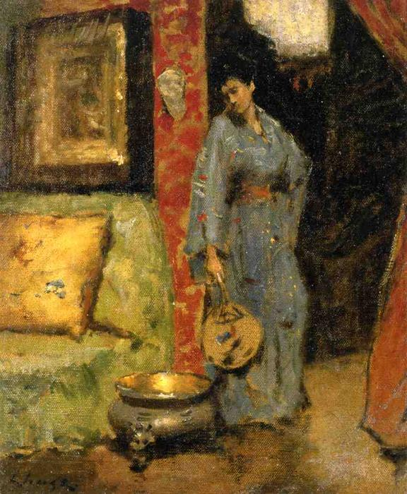 famous painting Woman in Kimono Holding a Japanese Fan of William Merritt Chase