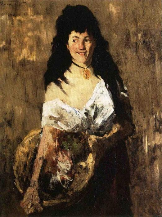 famous painting Woman with a Basket of William Merritt Chase